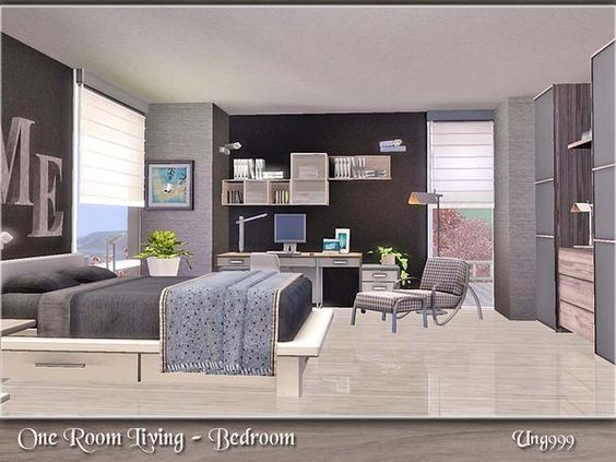 One room living bedroom by ung999 sims 3 downloads cc for Sims 3 living room ideas