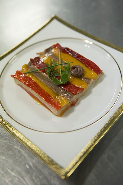 Millefeuille of 'Carmagnola' Bell peppers, Fresh Cantabric Anchovies, Roasted Aubergines by Grand Chef Gian Piero Vivalda #relaischateaux #gourmet
