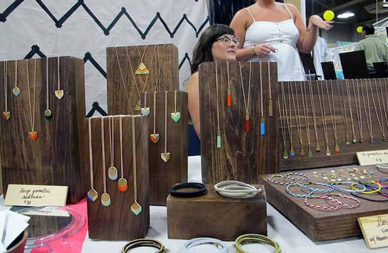 use wood pieces for displaying necklaces!