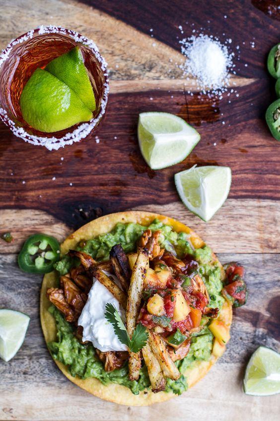 BBQ margarita chicken tostadas with sweet jalapeño margarita salsa.