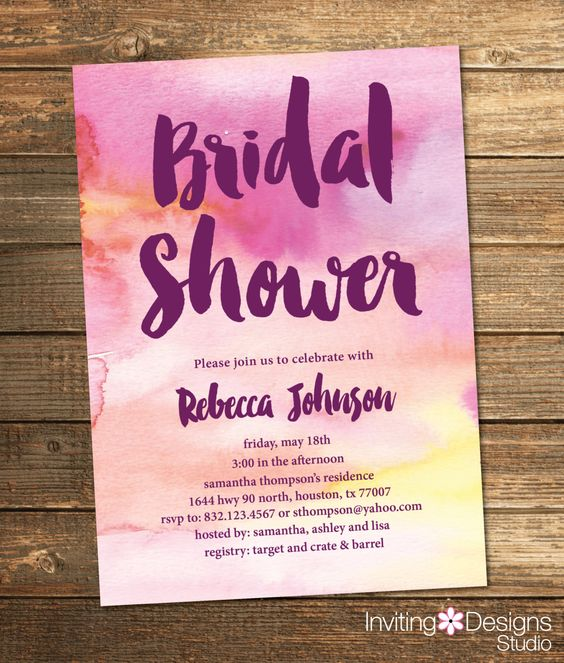 Bridal Shower Invitation, Watercolor, Wedding, Purple, Pink, Yellow, Art, Paint, Retro, Modern (PRINTABLE FILE) by InvitingDesignStudio on Etsy
