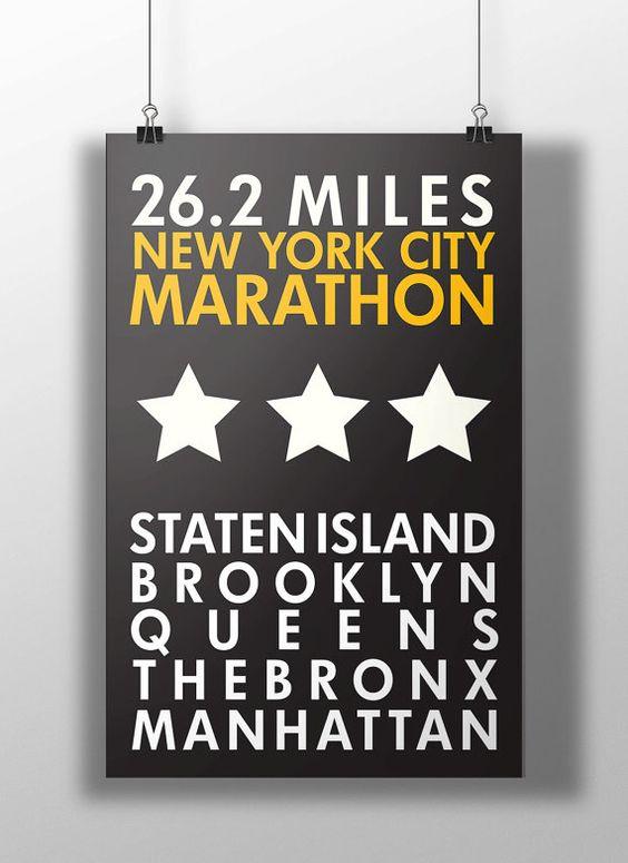 NYC Marathon Print by BigLeaguePrints on Etsy: