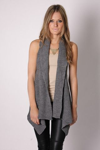 culture knit vest- grey