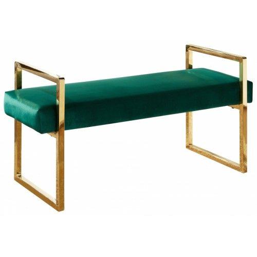 Forest Green Velvet Bench Gold Legs Velvet Bench Velvet