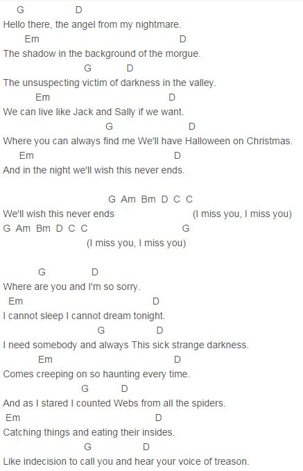 Chords for Blink 182-I miss you Lyrics - chordu.com