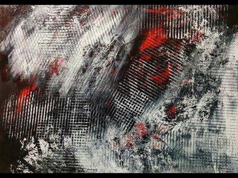 acryl drucktechnik schwarz weiss rot youtube abstrakt acrylbilder blau grün bekannte abstrakte künstler