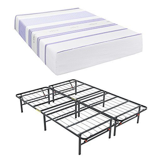 Classic Brands Vibe 12 Inch Gel Memory Foam Mattress With Hercules Heavy Duty 14 Inch Platform Metal Bed Fra Memory Foam Mattress Metal Bed Frame Foam Mattress
