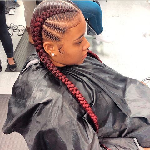 4 670 Likes 91 Comments Braidsby Nish On Instagram 2 Braids W Quick Weave Hair Mypre Quick Weave Hairstyles Weave Hairstyles Braided Hair Styles