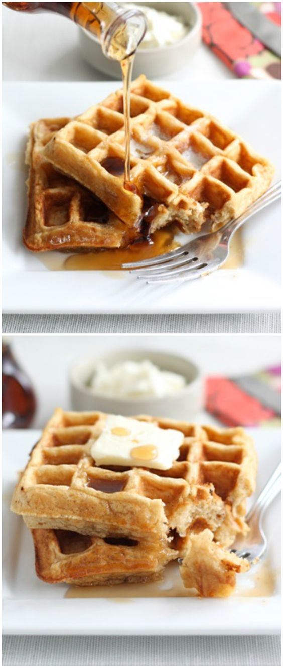 Honey Yogurt Waffle Recipe on twopeasandtheirpod.com These waffles are ...