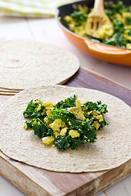 Greens & Tofu Scramble Wraps (freezer friendly)