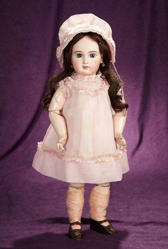 """21"""" French bisque bebe, incised mark  """"Depose Jumeau"""", size 10, origl straight-wrist body.~ wearing pretty antique rose cotton dress and bonnet with silk trim, undergarments, net stockings, leather shoes."""