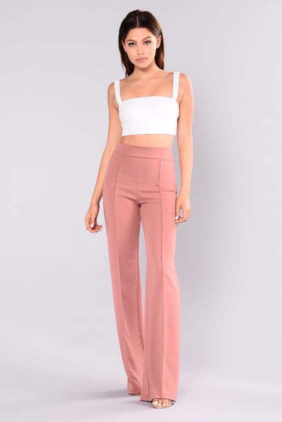 Victoria High Waisted Dress Pants - Mauve