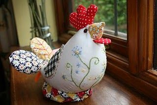 Love this lil embroidered chicken pin cushion! bock bock bock