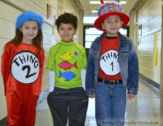 Dr seuss dress up day thing 1 thing 2 and one fish two for One fish two fish costume