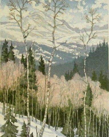 """March Snow""  22×14 woodblock Leon Loughridge  At Breckinridge Gallery"