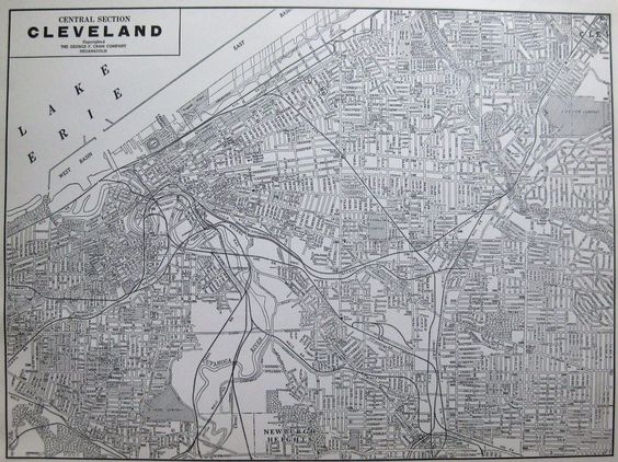 1939 CLEVELAND MAP  Vintage City Map of Cleveland Ohio Gallery Wall Art #2897