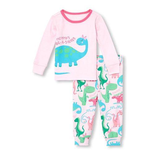 The Childrens Place Baby Girls Printed Pajama Set