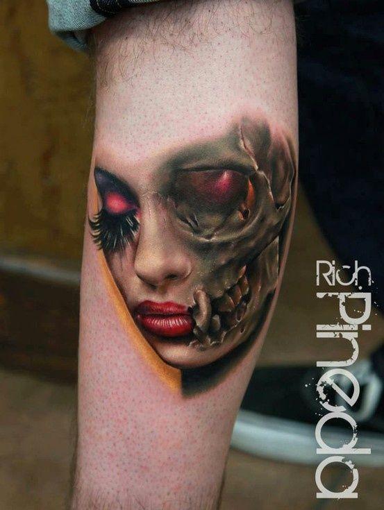 Womens Half Face And Half Skull Head New Tattoo Ideas Pinterest