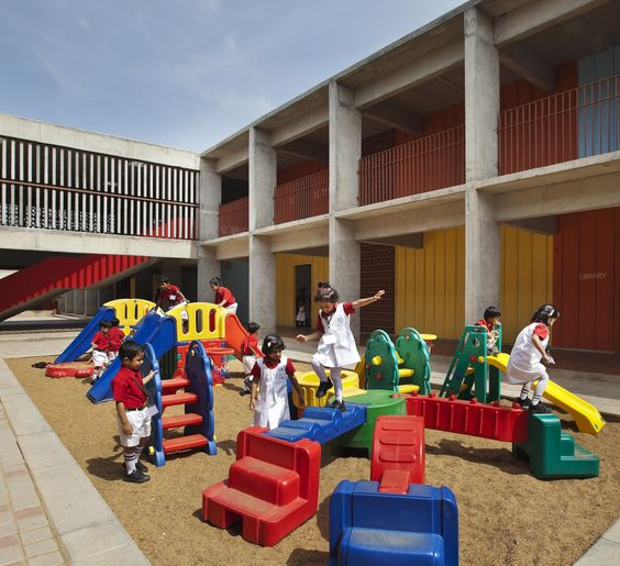 dps kindergarten school colored walls within concrete frame