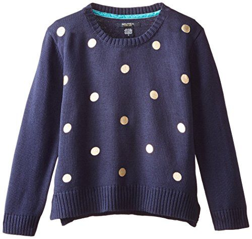 Nautica Big Girls' Sweater with Foil Dot Print and Stepped Hem, Navy, 8