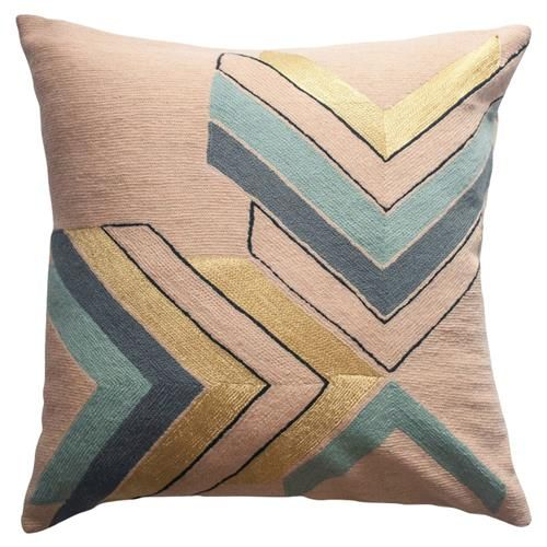 Leah Singh Modern Hand Embroidered Marion Gold Pillow Cover Gold Pillows Gold Pillow Covers Throw Pillows