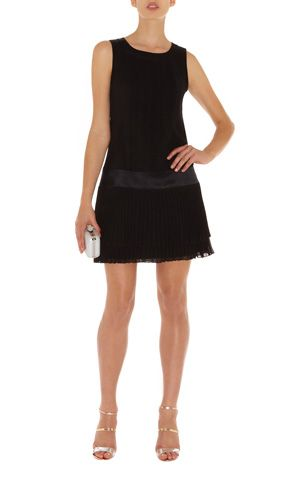 20S PLEAT DRESS  Drop waist mini dress with pin tucked silk top and contrast satin trims and fine pleated skirts.