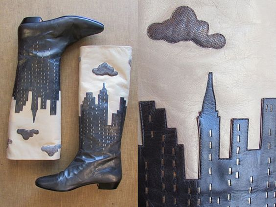 CITY SLICKER Vintage 80s Boots  1980's  New York by lovestreetsf