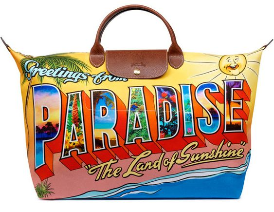 Longchamp x Jeremy Scott ~ Greetings From Paradise postcard bag