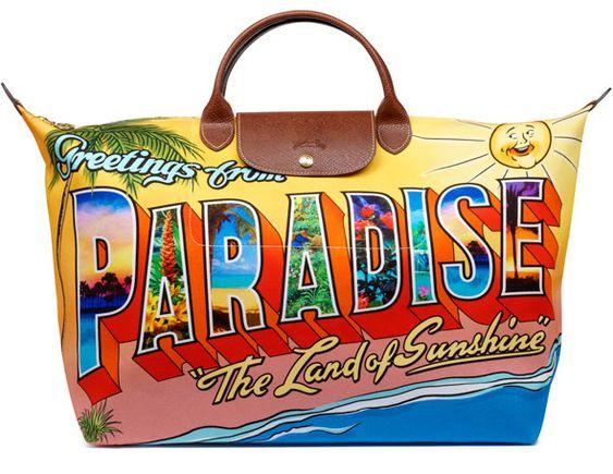 Longchamp x Jeremy Scott ~ Greetings From Paradise postcard bag