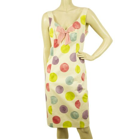 Moschino Cheap & Chic White & Large Polka Dots Pink Bow Knee Length Dress Sz 46