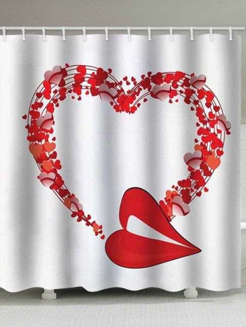 Valentine Heart Waterproof Shower Curtain With Images