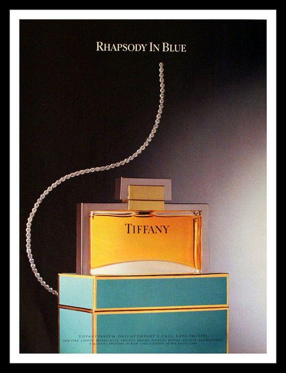 1987 Tiffany Perfume Ad - Parfum - Blue Box - Wall Art - Home Decor - Bath - Vanity - 80s - Retro Vintage Fragrance Advertising