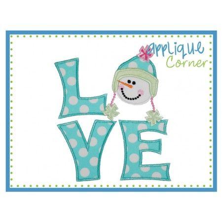 Love Snowman Girl Square Applique Design