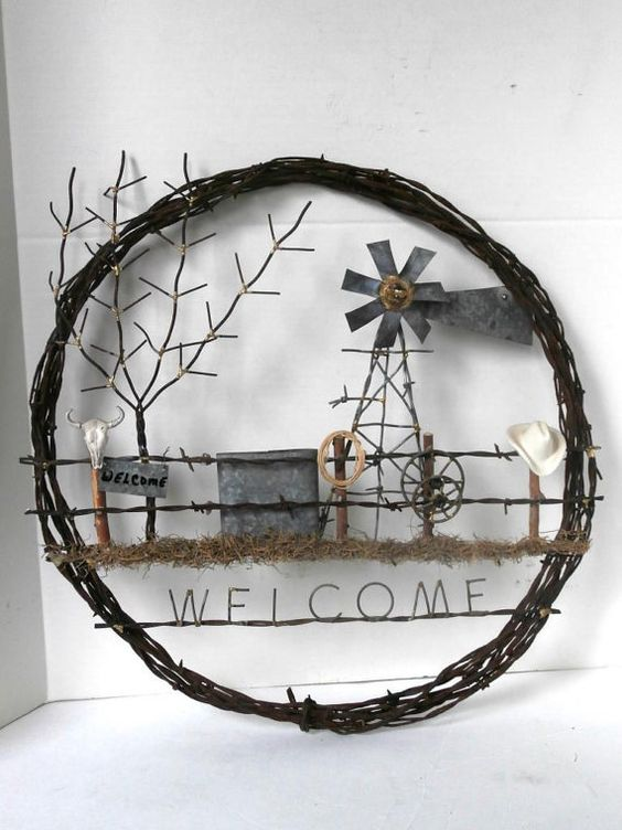 Barb Wire Wreath Western Theme Welcome Sign by MustangRescue, $145.00