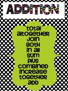 Printables Addition Words addition and subtraction clue words dots black white these polka dot posters are perfect to help your students decode those wordy