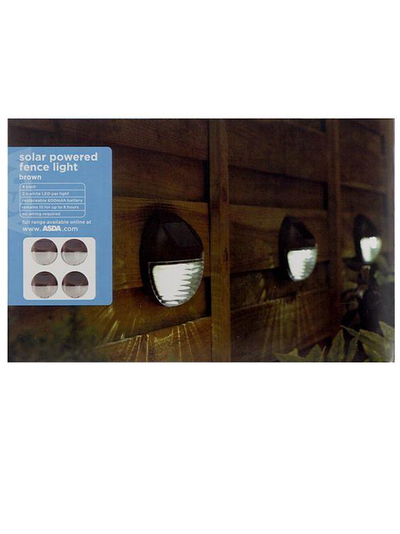 solar powered fence light 4 pack garden lights asda. Black Bedroom Furniture Sets. Home Design Ideas