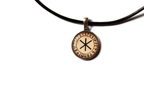 Awesome Hagal pendant with a chain or a leather cord. Nice Rune necklace in bronze or silver finish. Beautiful Viking jewelry.  SIZE: 0.8 inches