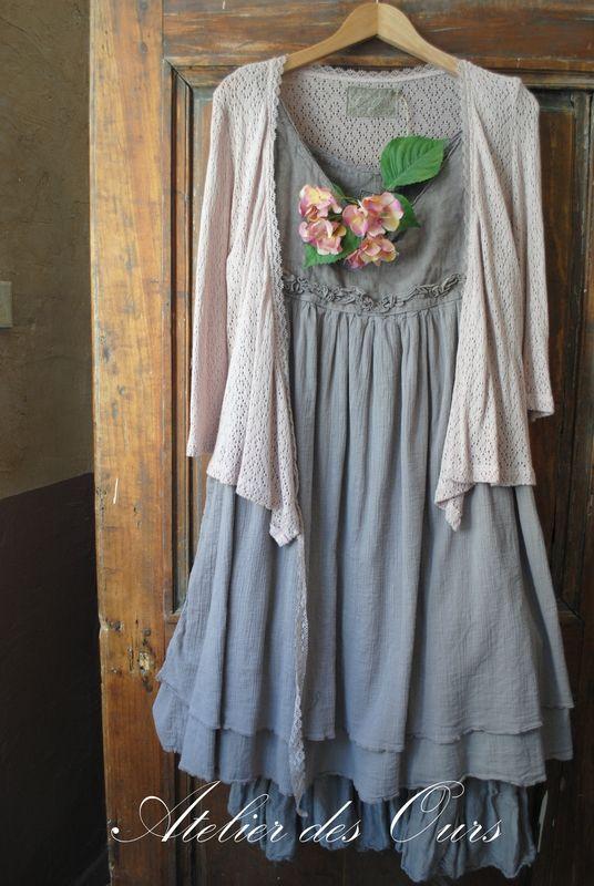 Mlle orlane en gris ou en cru robe sans manche en lin - Gris et lin ...