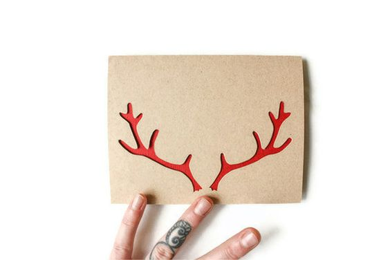 Christmas Card reindeer Antlers  Custom Color  by JerseysFreshest, $8.00 on Etsy