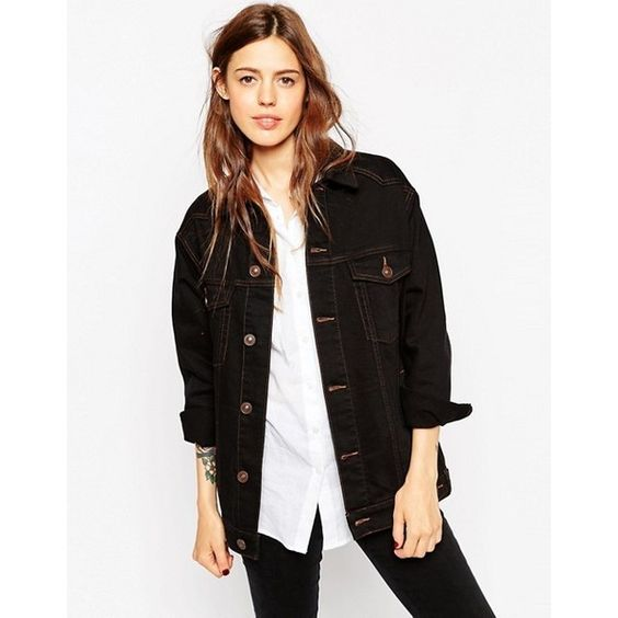 ASOS | ASOS Denim Girlfriend Jacket in Black with Contrast Stitch ($65) found on Polyvore:
