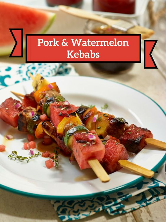 How to make Pork Kebabs. Pork & Watermelon Kebab recipe. Perfect recipe for summer barbeques. Grill out appetizer or entree. Pork recipes.