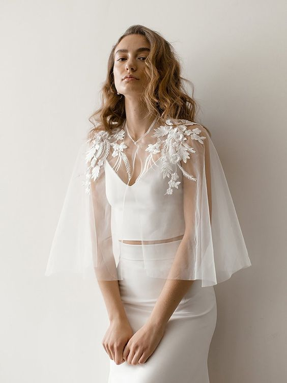 sheer bridal cape