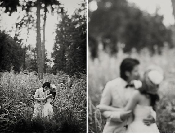 black and white soft-focus photo in field