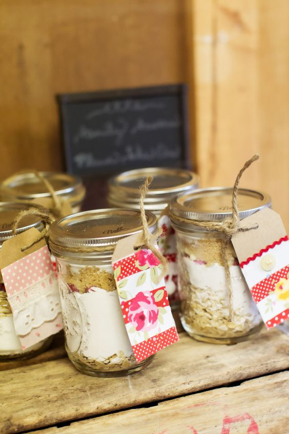 Party Favors: Jars of Cookie Mix with Handmade Tags! Perfect for this Vintage Picnic Birthday