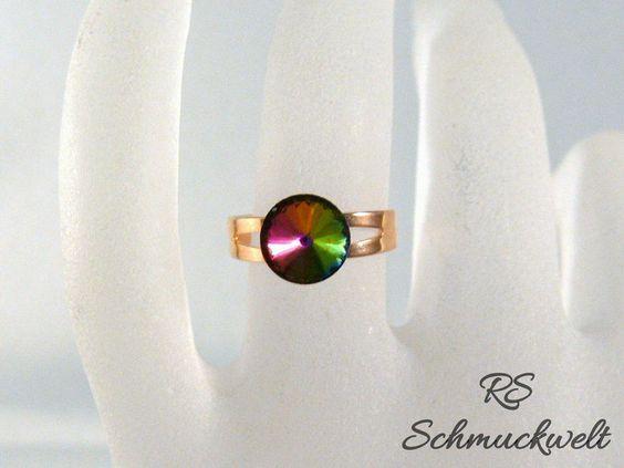 Kristall Ring, Rivoli Kristall, Kristall Farbwahl, kleine Ringgrößen, Ring…
