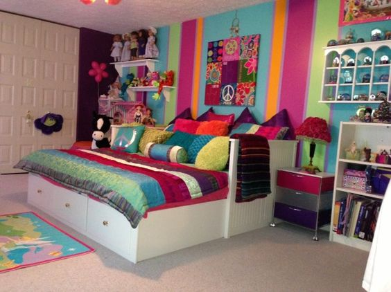 """PEACE""ful Dreams, tween bedroom decorating for the long haul (sorry, forgot to check the sheet tuck after daughter was flopping on bed ;)), colorful big girl room for tween/teen, transitional for many years to come   , Girls Rooms Design"