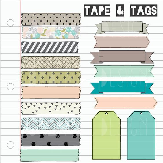 "18 tape strips, tags & banners and 1 12x12"" note paper background. Instant PNG files. Transparent background. 300 DPI on Etsy, $2.00"