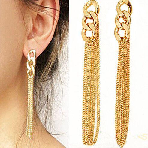 2014 Newest HOT !!! Retro Women Long Chunky Chain Earrings Fancy Dress Golden Tassel Chain Ear High Quality G19-in Stud Earrings from Jewelry on Aliexpress.com