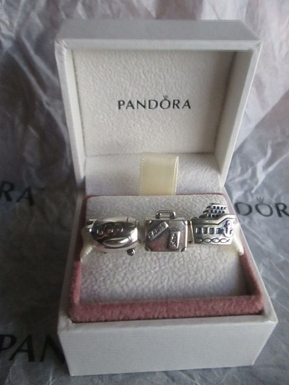 3 Authentic Pandora Beads Charm For Bracelet Airplane