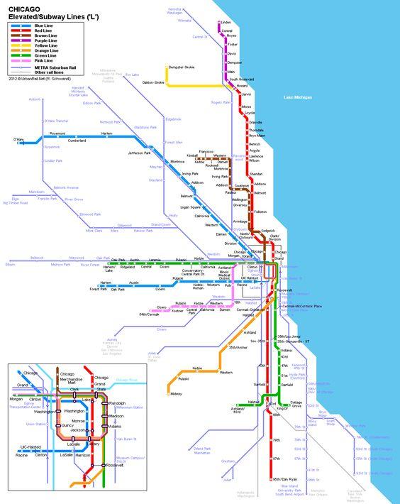 Chicago Rail Map Chicago Pinterest Chicago